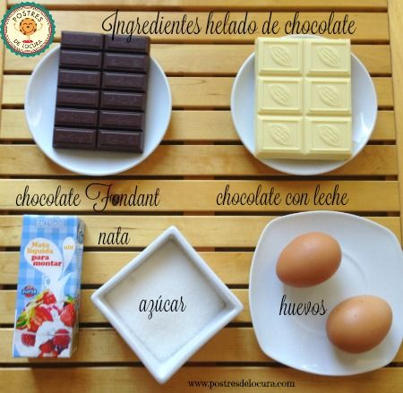 Ingredientes helado de chocolate blanco y chocolate con leche